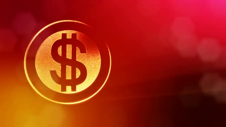 distorção : dollar sign in rings. Finance background of luminous particles. 3D loop animation with depth of field, bokeh and copy space for your text. Red color v2 Stock Footage