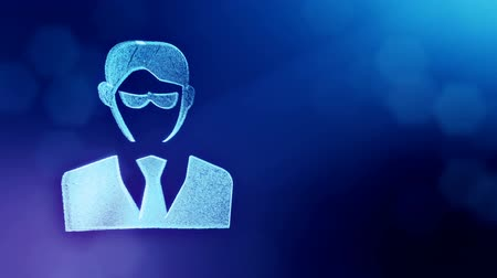 distorção : icon of businessman or hacker.. Background made of glow particles as vitrtual hologram. 3D seamless animation with depth of field, bokeh and copy space. Blue color v2