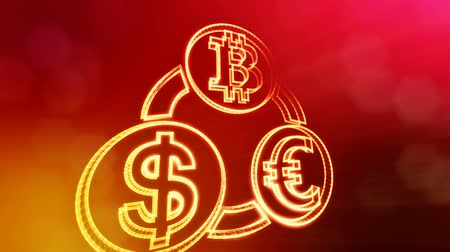 distorção : symbol bitcoin euro and dollar in a circular bunch. Financial background made of glow particles. Shiny 3D seamless animation with depth of field, bokeh and copy space.. Red color v2