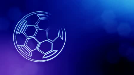 distorção : icon of soccer ball. Background made of glow particles as vitrtual hologram. 3D seamless animation with depth of field, bokeh and copy space. Blue color v2