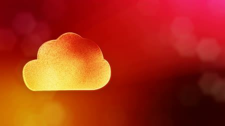 distorção : icon of cloud. Background made of glow particles as vitrtual hologram. 3D seamless animation with depth of field, bokeh and copy space. Red color v2 Stock Footage