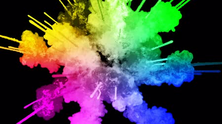 bomba : fireworks from paints isolated on black background with nice trails. explosion of colored powder or ink. juicy creative explosion of all colors of the rainbow in the air in slow motion. 39