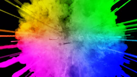 fireworks from paints isolated on black background with nice trails. explosion of colored powder or ink. juicy creative explosion of all colors of the rainbow in the air in slow motion. 54