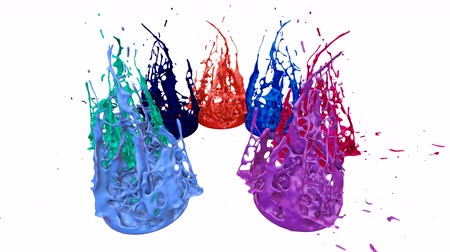 estouro : Paints dance with time slowdown on white background. Simulation of 3d splashes of ink on a musical speaker that play music. Splashes as a bright background in ultra high quality 4k. Multi colored v 3 Vídeos