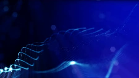 geometryczne : 3d loop abstract animation of glow particles with depth of field, bokeh and light rays for abstract background or vj loop like microcosm or space. Seamless BG with beautiful light effects. V 3 blue
