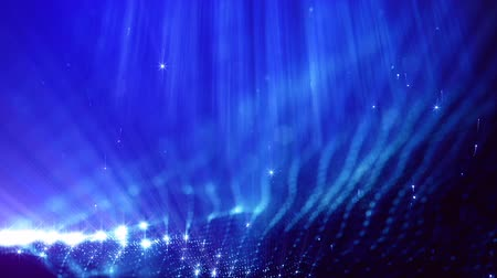 parçacık : 3d loop abstract animation of glow particles with depth of field, bokeh and light rays for abstract background or vj loop like microcosm or space. Seamless BG with beautiful light effects. V 10 blue
