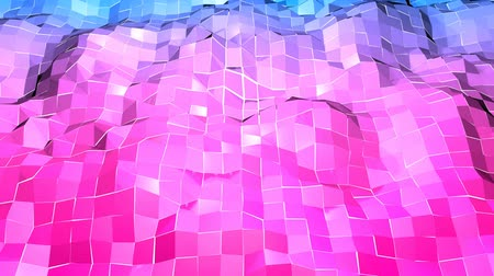 terénní : Abstract low poly style looped background. 3d seamless animation in 4k. Modern gradient colors. Low poly red blue surface v1