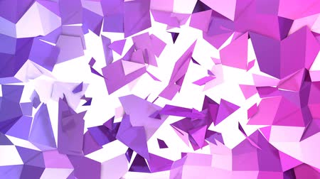 crumpled : Abstract low poly style looped background. 3d seamless animation in 4k. Modern gradient colors. Low poly violet blue surface with a gap in the middle v1