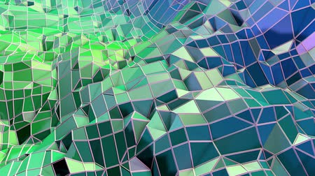 matematikai : Abstract low poly style looped geometric background. 3d seamless animation in 4k. Modern gradient colors. Low poly blue green surface as cartoon terrain v6 Stock mozgókép