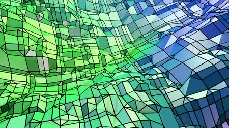 pulsate : Abstract low poly style looped geometric background. 3d seamless animation in 4k. Modern gradient colors. Low poly blue green surface as cartoon terrain v8