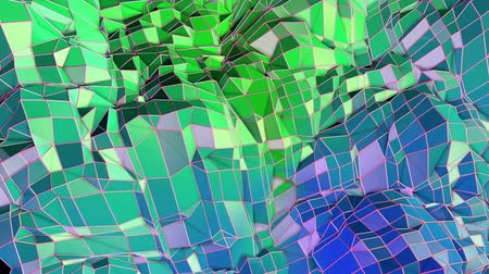 визуализация : Abstract low poly style looped geometric background. 3d seamless animation in 4k. Modern gradient colors. Low poly blue green surface as cartoon terrain v9