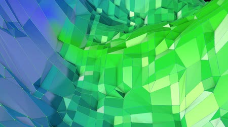 pulsate : Abstract low poly style looped geometric background. 3d seamless animation in 4k. Modern gradient colors. Low poly blue green surface as cartoon terrain v11
