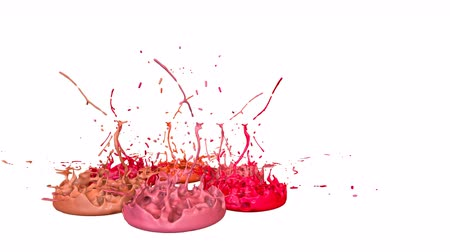 colidir : 3d splashes of paint dance in 4k on white background. Simulation of splashes of ink on a musical speaker that play music. V18 Vídeos