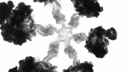 шлейф : black ink dissolves in water on white background with luma matte. 3d render of computer simulation. V4 a lot of ink flows form round structure