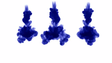 pulverização : blue ink dissolves in water on white background with luma matte. 3d render of computer simulation. V7