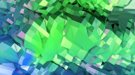 pulsate : 4k low poly background animation in loop. Seamless 3d animation in modern geometric low poly style with gradient colors. Creative simple background. V2 blue green landscape