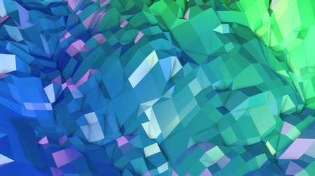 időszakos : 4k low poly background animation in loop. Seamless 3d animation in modern geometric low poly style with gradient colors. Creative simple background. V3 blue green landscape Stock mozgókép
