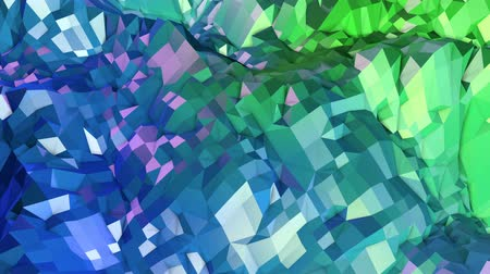 tremble : 4k low poly background animation in loop. Seamless 3d animation in modern geometric low poly style with gradient colors. Creative simple background. V4 blue green landscape