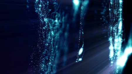 atomů : 3d loop abstract animation with beautiful light effects of glow particles with depth of field, bokeh and light rays for seamless abstract background vj loop like microcosm or space. sparkling blue 2 Dostupné videozáznamy
