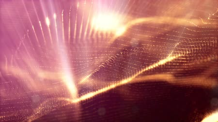 tridimensional : 3d loop abstract animation with beautiful light effects of glow particles with depth of field, bokeh and light rays for seamless abstract background vj loop like microcosm or space. sparkling gold 2