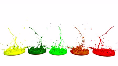 colidir : 3d splashes of liquid. Paint bounce in 4k on white background. Simulation of splashes of ink on a musical speaker that play music. multicolor version 4