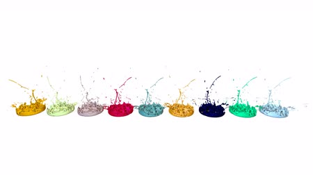 colidir : 3d splashes of liquid. Paint bounce in 4k on white background. Simulation of splashes of ink on a musical speaker that play music. multicolor version 6
