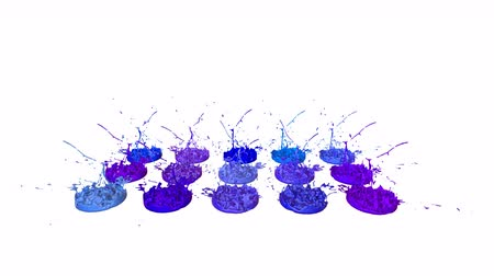 colidir : 3d splashes of liquid. Paint bounce in 4k on white background. Simulation of splashes of ink on a musical speaker that play music. version shades of blue 4