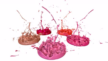 jogar : 3d splashes of liquid. Paint bounce in 4k on white background. Simulation of splashes of ink on a musical speaker that play music. version shades of red 6 Vídeos