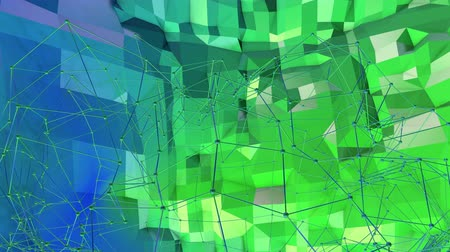 mathematic : 4k clean low poly animated background in loop. Seamless 3d animation in modern geometric style with modern gradient colors. Creative simple background. Blue green gradient colors, terrain 6 Stock Footage