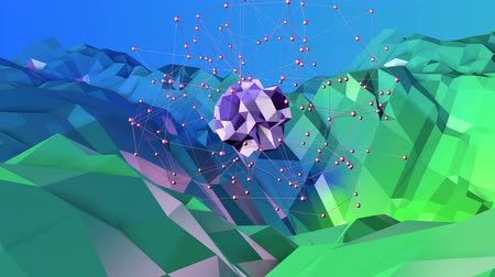 deformação : 4k clean low poly animated background in loop. Seamless 3d animation in modern geometric style with modern gradient colors. Creative simple background. Blue green gradient colors 3 Stock Footage