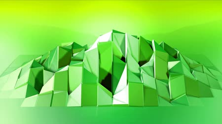 cooperar : 4k clean low poly animated background in loop. Seamless 3d animation in modern geometric style with modern gradient colors. Creative simple background. Green yellow gradient, mountain 3
