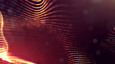 yumuşaklık : 3d loop animation as digital science fiction background of glowing particles like in nano world with depth of field, bokeh. Particles form line, surface grid or mysterious virtual space. Red gold 43