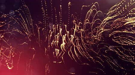 pontilhado : 4k render of glow particles as abstract seamless dynamic background with depth of field and bokeh. Science fiction or microcosm, space or digital abstract space. 3d loop animation. Red gold strings 9 Stock Footage