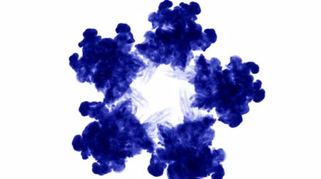 шлейф : blue ink dissolves in water on white background with luma matte. 3d render of computer simulation. Inks inject in water. circular structure 6