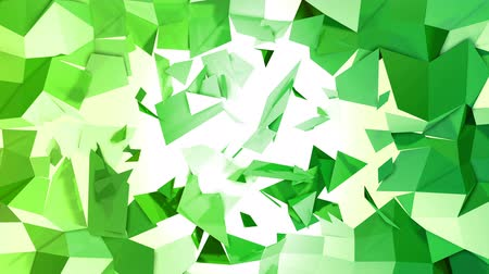 faceted : 4k clean geometric animated background in loop, low poly style. Seamless 3d animation with modern gradient colors. Creative simple green yellow background with copy space. 2