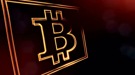 logo elements : Sign of bitcoin digital square icon. Financial background made of glow particles as vitrtual hologram. Shiny 3D loop animation with depth of field, bokeh and copy space. Dark V4 Stock Footage