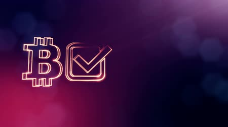 logo : Logo bitcoin and tick in the box. Financial background made of glow particles as vitrtual hologram. Shiny 3D seamless animation with depth of field, bokeh and copy space. Violet V4 Stock mozgókép