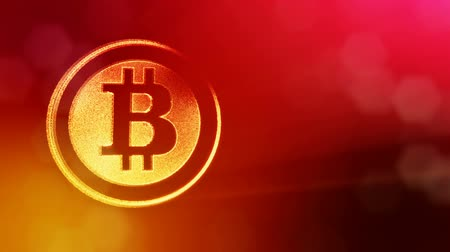 logo elements : bitcoin logo inside circles like coin. Financial background made of glow particles as vitrtual hologram. Shiny 3D loop animation with depth of field, bokeh and copy space. Red V4 Stock Footage