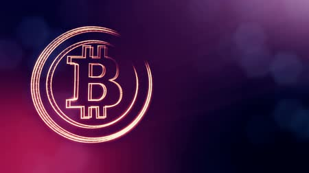 logo elements : bitcoin logo inside circles like coin. Financial background made of glow particles as vitrtual hologram. Shiny 3D loop animation with depth of field, bokeh and copy space. Violet V4 Stock Footage