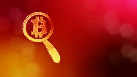 morph : Sign of bitcoin under a magnifying glass. Financial background made of glow particles as vitrtual hologram. Shiny 3D loop animation with depth of field, bokeh and copy space. Red V4 Stock Footage