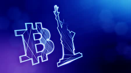 morph : Bitcoin logo and a statue of freedom. Financial background made of glow particles as vitrtual hologram. Shiny 3D loop animation with depth of field, bokeh and copy space. Blue V4