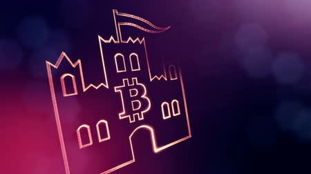 morph : logo bitcoin inside the emblem of the castle. Financial background made of glow particles as vitrtual hologram. Shiny 3D loop animation with depth of field, bokeh and copy space. Violet V4 Stock Footage