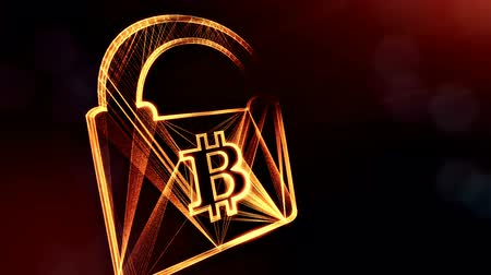 logo elements : Bitcoin logo inside the lock. Financial background made of glow particles as vitrtual hologram. Shiny 3D loop animation with depth of field, bokeh and copy space. Dark V4 Stock Footage