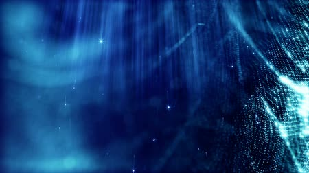 премия : Dark digital abstract background with beautiful glowing particles. 3d render background with particles and depth of field. Loop animation, seamless footage. Blue space 3