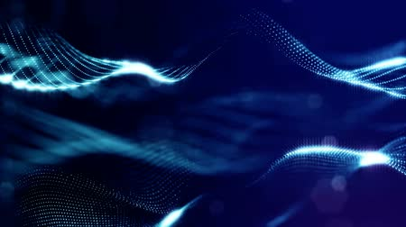 Dark digital abstract background with beautiful glowing particles. 3d render background with particles and depth of field. Loop animation, seamless footage. Blue microcosm 5