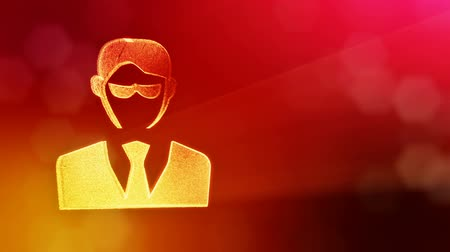 hacker computer : icon of businessman or hacker.. Background made of glow particles as vitrtual hologram. 3D seamless animation with depth of field, bokeh and copy space. Red version 3