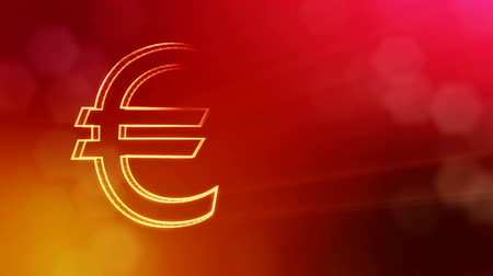 particle system : Animation icon or emblem of Euro Logo. Financial background made of glow particles as vitrtual hologram. Shiny 3D loop animation with depth of field, bokeh and copy space.. Red version 3 Stock Footage