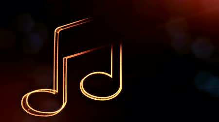 logo : icon of music. Background made of glow particles as vitrtual hologram.. 3D seamless animation with depth of field, bokeh and copy space. Dark version 3