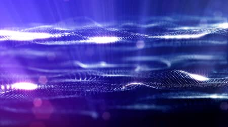 interruptor : blue strings, microcosm or space. Seamless footage with beautiful light effects. 3d loop abstract animation of glow particles with depth of field, bokeh and light rays as vj loop. 10