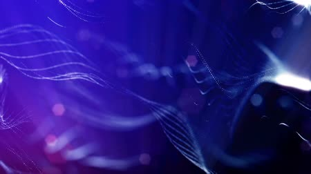 brilhar : blue strings, microcosm or space. Seamless footage with beautiful light effects. 3d loop abstract animation of glow particles with depth of field, bokeh and light rays as vj loop. 11